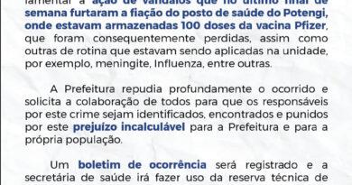 Prefeitura de Macaíba emite nota de repúdio após furto de fiação que resultou em perda de doses de vacinas; confira